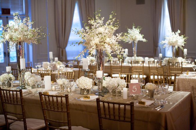white and gold wedding decor simple but wedding 1296