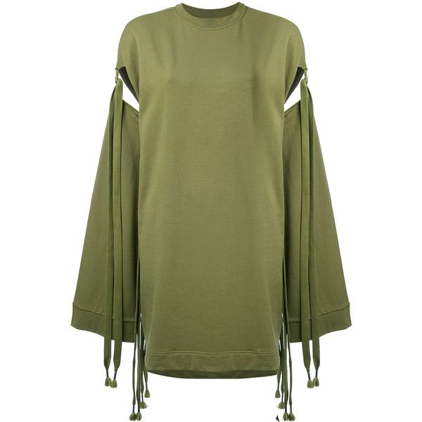 Fenty Sleeve Tie Sweatshirt ($190) ❤ liked on Polyvore featuring tops, hoodies, sweatshirts, green, green top, puma top, puma sweatshirt, green sweatshirt and tie top