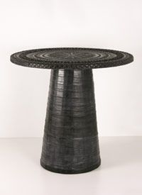 recycled tire pedestal table