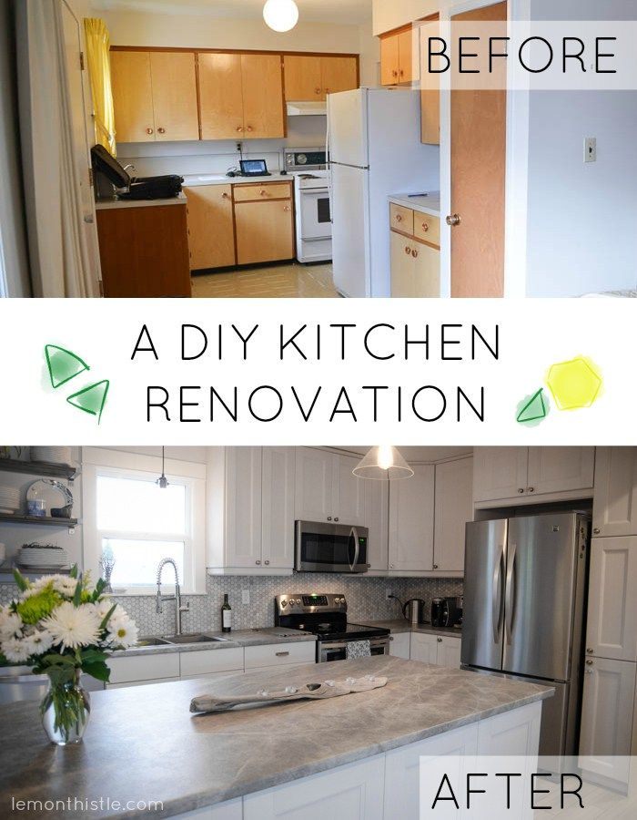 Before And After   DIY Kitchen Renovation Love The Laminate Countertop U0026  Marble Backsplash U0026 Open Shelving