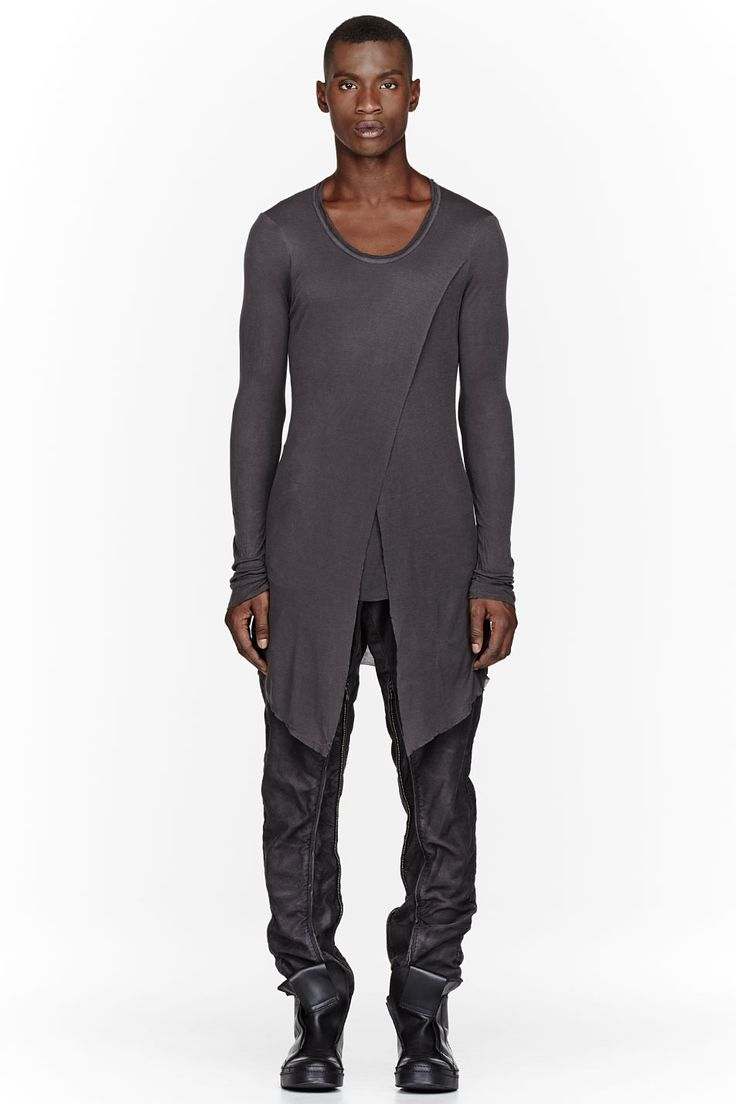 Great look, great brand @ SSENSE   JULIUS Charcoal V-Neck Draped Layered Fraise Shirt