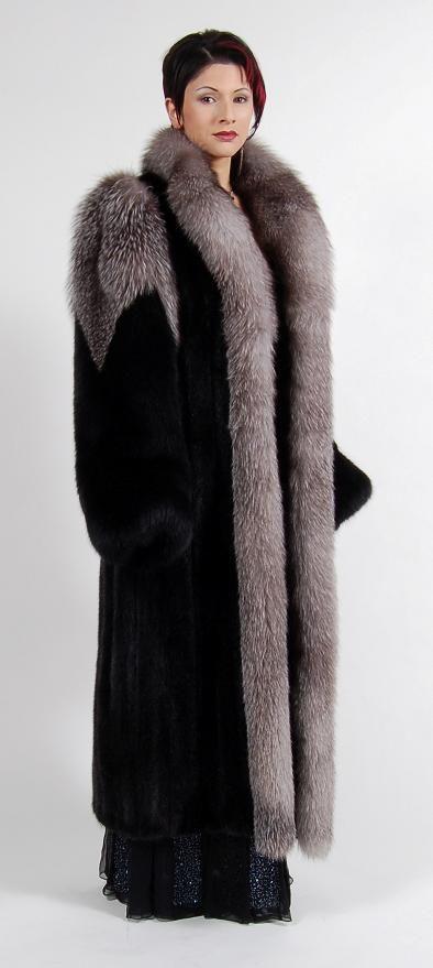 Classy Black Mink & Fox Fur Coat