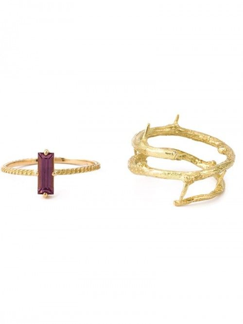Wouters+Hendrix+Gold+Rhodolite+Set+Of+Ring+Women+52+Grey+|+Jewelry+and+Accessory