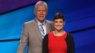 Image copyright                  AP                                                                          Image caption                                      Jeopardy host Alex Trebek (left) paid tribute to Cindy Stowell on Wednesday                                Tributes have been paid to a US woman with colon cancer whose appearances in a six-game series of
