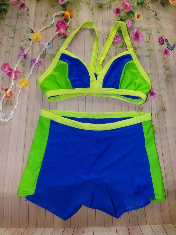 Christina Blue Green 2 Piece Swimwear Swim Shorts Racerback Top     eBay