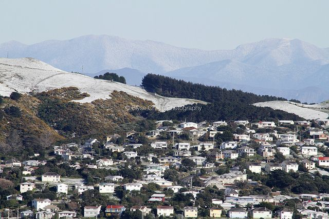 Snow capped South Island beyond Titahi Bay, Porirua, New Zealand | © Elyse Childs Photography