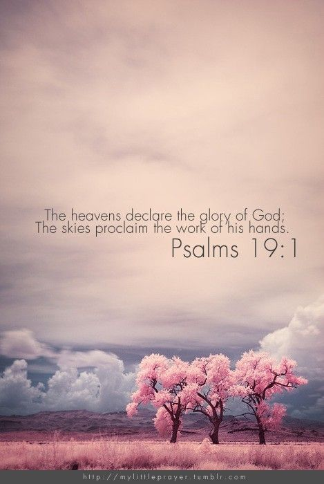 Psalm 191 The heavens declare the glory of God; the