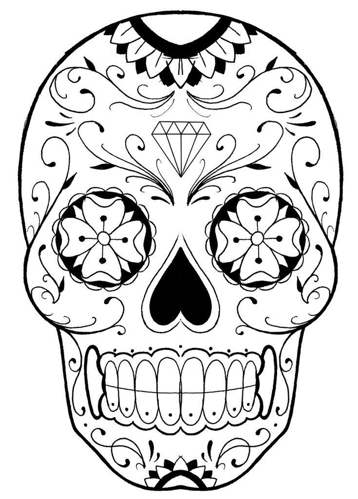 316 best images about coloring pages on pinterest for Sugar skull mandala coloring pages