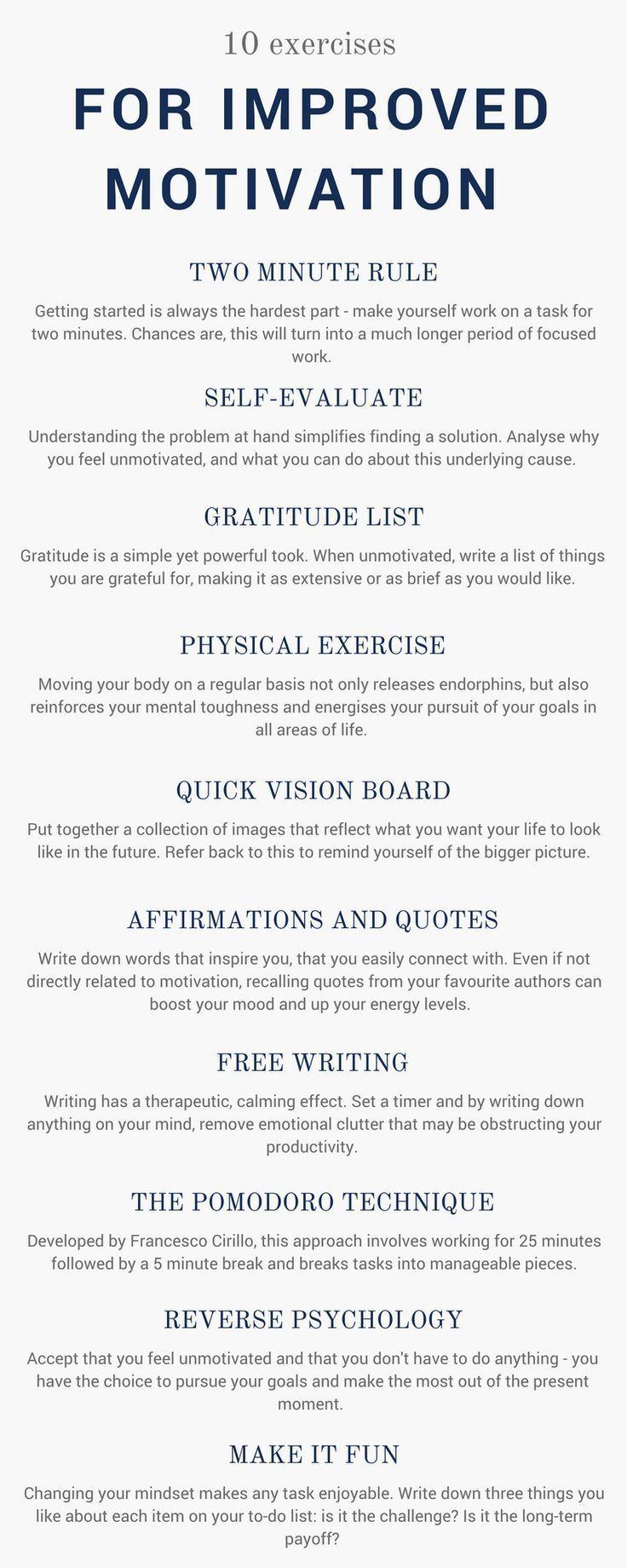 Zehn Übungen, um die Motivation zu steigern, eine…