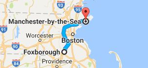 Map from Foxborough, Massachusetts, USA to Manchester-by-the-Sea, Massachusetts, USA