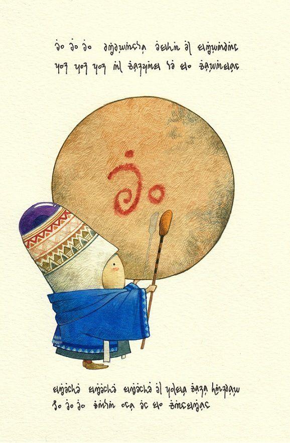 Eu, Eu, Eu, vibrando está el Sirabán, Pum, pum, pum, al compás de su corazón.  Siente, siente, siente, el pulso como tambor, Eu, Eu, Eu, cada uno con su canción :) (By Elviscelanius)