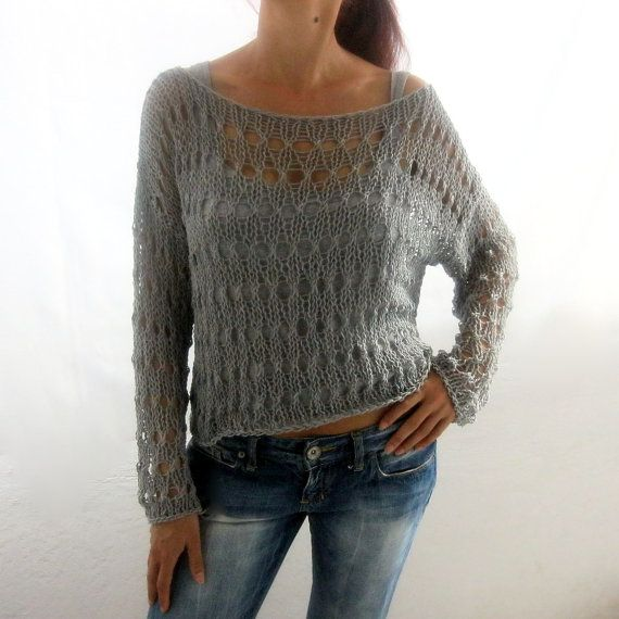 Estate maglione di cotone in colore grigio lavorato a di Rumina