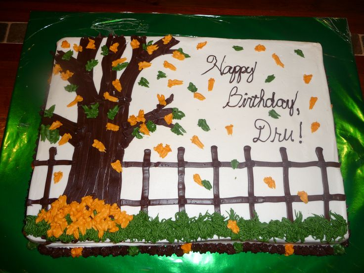 Fall birthday - Sheet cake, fall leaves, all BC... saw this design here on CC, thanks to whomever it was!