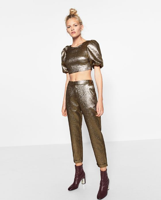Image 1 of SHINY TOP WITH FULL SLEEVES from Zara