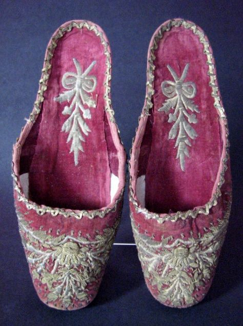 Antique Victorian Embroidered Shoes, Ottoman, Islamic Lovely Velvet Slippers/ House Shoes C 1840 - For sale on Ruby Lane