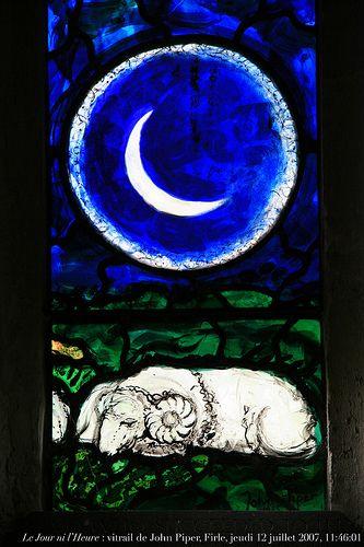 """Le Jour ni l'Heure : vitrail de John Piper en hommage à William Blake (""""Livre de Job"""", détail), église de Firle, East Sussex, jeudi 12 juillet 2007, 11:46:01"""