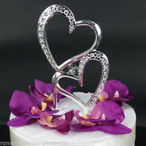 silver double hearts wedding engagement cake topper