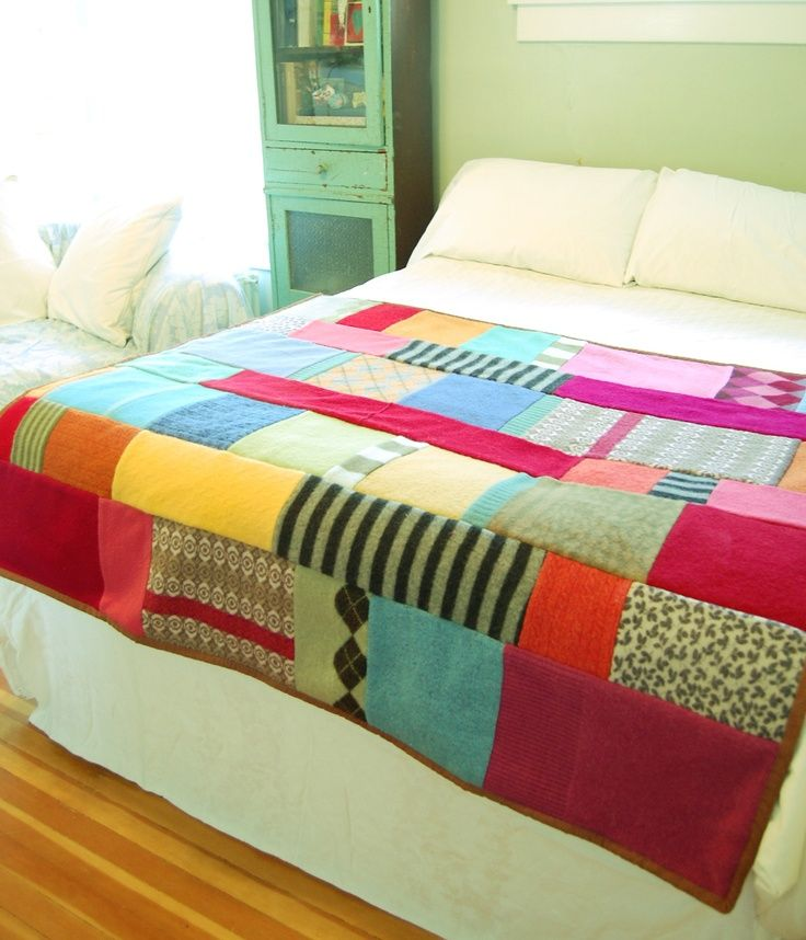 patchwork quilt made from felted wool sweaters. $175