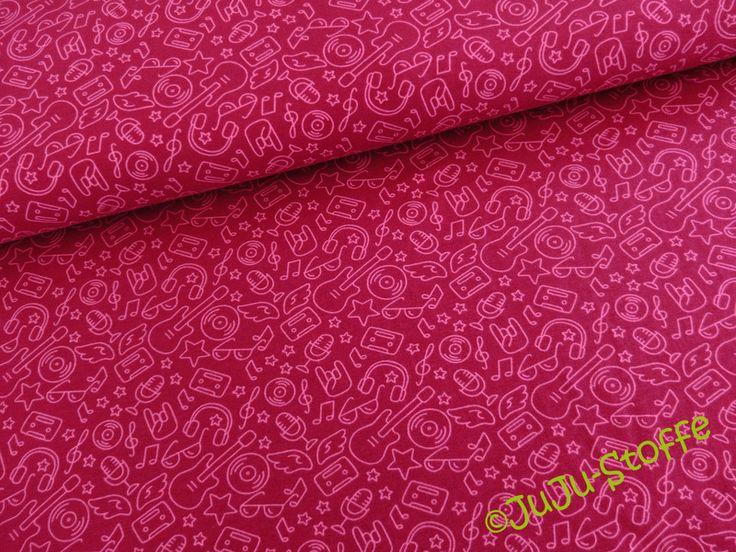 Weiteres - Jersey Rock Musik pink - ein Designerstück von JuJu-Stoffe bei DaWanda