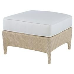 Bismark Ivory Woven Sand Outdoor Ottoman | Kathy Kuo Home