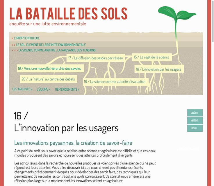 """La bataille des sols, SciencesPo 2013. For each issue there are a lot of interview """"in situ"""". http://controverses.sciences-po.fr/cours/sols/"""