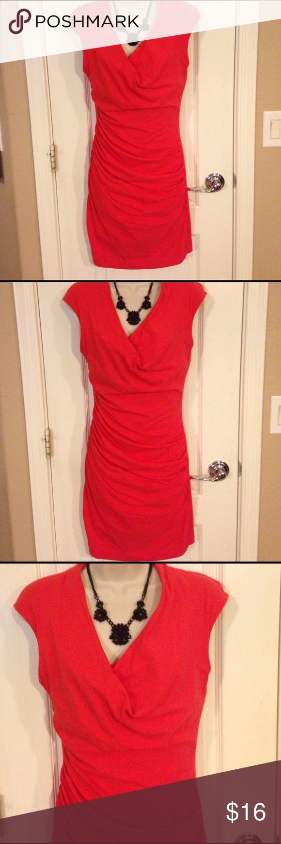 MNG by Mango Reddish Orange - Size Small Outstanding MNG by Mango Reddish Orange Dress - Size Small. This dress has such a find with the rushing and the crisscross top. It is 93% cotton, 7% elastane and washable. This was worn a couple of times it is in great condition. MNG by Mango Dresses