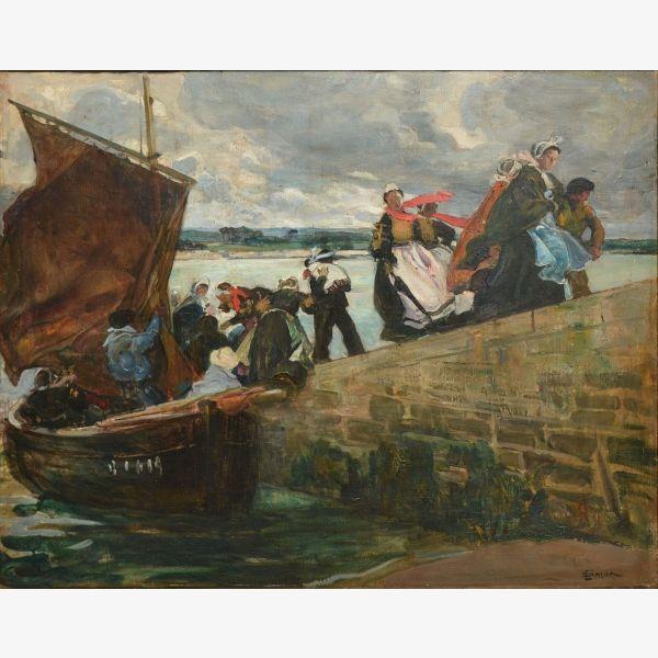 """Lucien Simon - Le Passeur, dite aussi Débarquement à l""""Ile Tudy - 1907"""