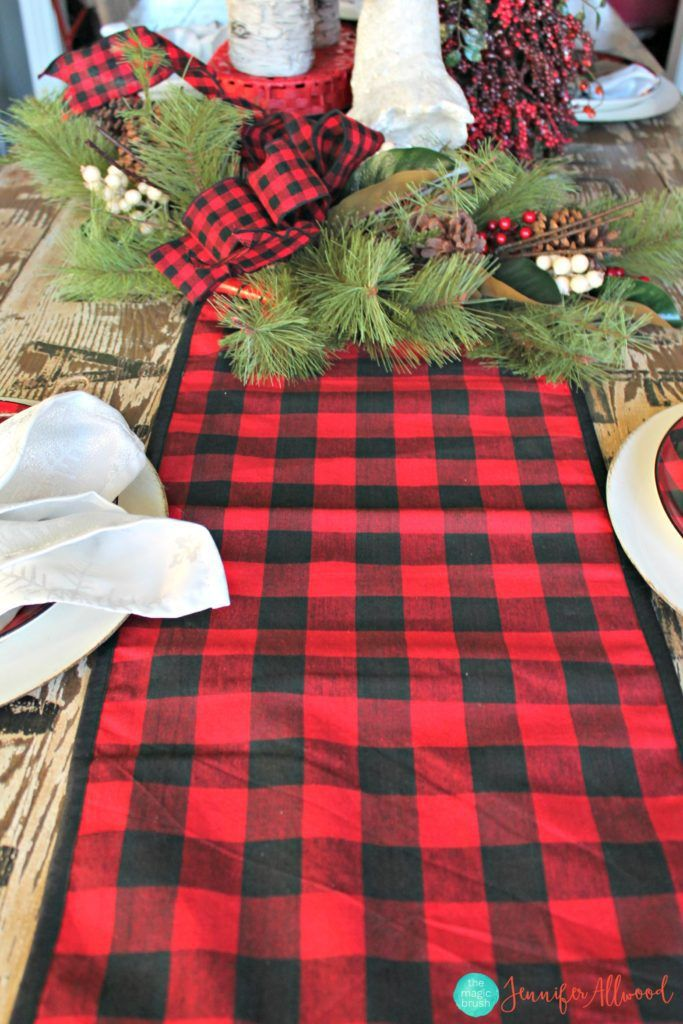 Buffalo Check Tablescape For Less Than 100 From Hobby Lobby Buffalo Check Christmas Decor Buffalo Check Christmas Hobby Lobby Christmas