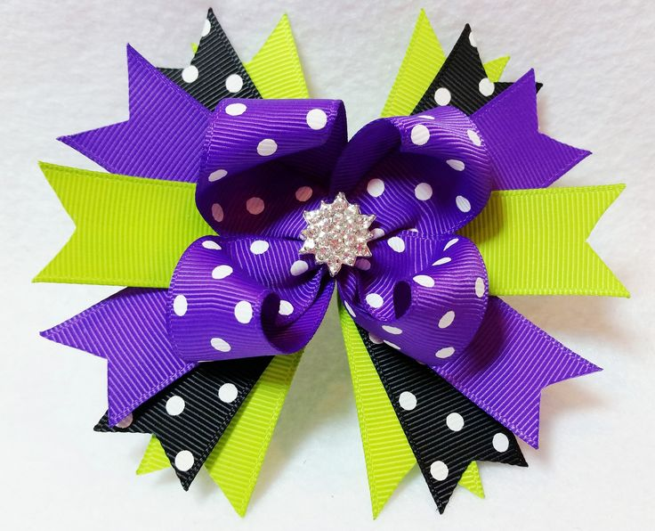 4.5 Inch Boutique Stacked Loopy Hair Bow Purple/White and Black/White Polka Dot and Lime Green Grosgrain Ribbon Spiked Pinwheel Base. Starburst Crystal Center Embellishment. Covered and lined no-slip