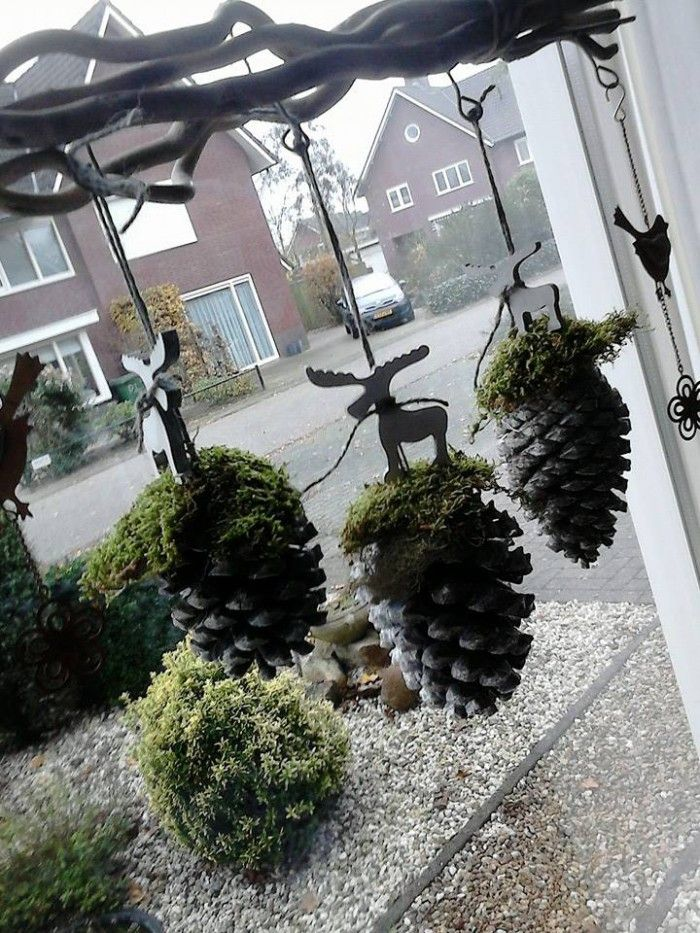 Leuk+voor+de+Kerst mossy pinecones hanging off our dining room light would be pretty and not too fussy. I will be doing this!