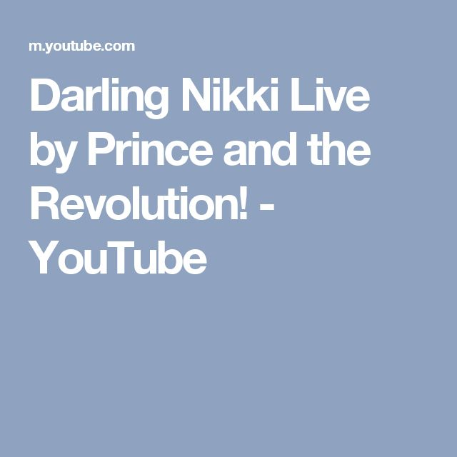 Darling Nikki Live by Prince and the Revolution! - YouTube