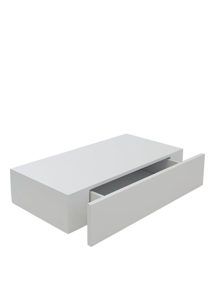 Ohio 49cm Floating Shelf with Drawer - White   very.co.uk