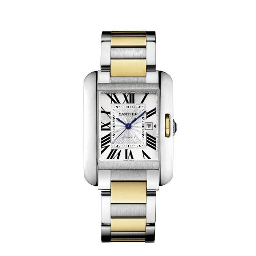 Cartier Tank Anglaise Silver Dial Steel and 18kt Yellow Gold Ladies Watch W5310047