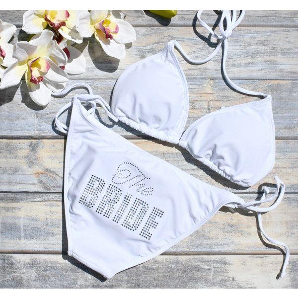 The Bride Bikini Bride Swimsuit Bride Bikini Bride Two Piece Honeymoon... (46 CAD) ❤ liked on Polyvore featuring swimwear, bikinis, white, women's clothing, white bikinis, triangle bikinis, white bathing suit, swimsuits bikini and two piece swimsuits
