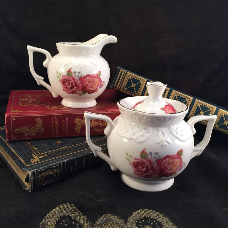 Pink Rose Patterned Cream & Sugar Bowl, Vintage Inspired Porcelain Dining Ware by AntiquesNotForgotten on Etsy