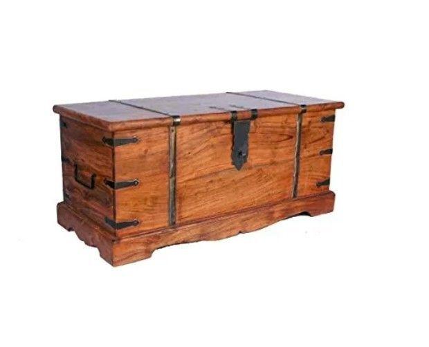 Details About Vintage Storage Chest Wooden Storage Trunk Rustic