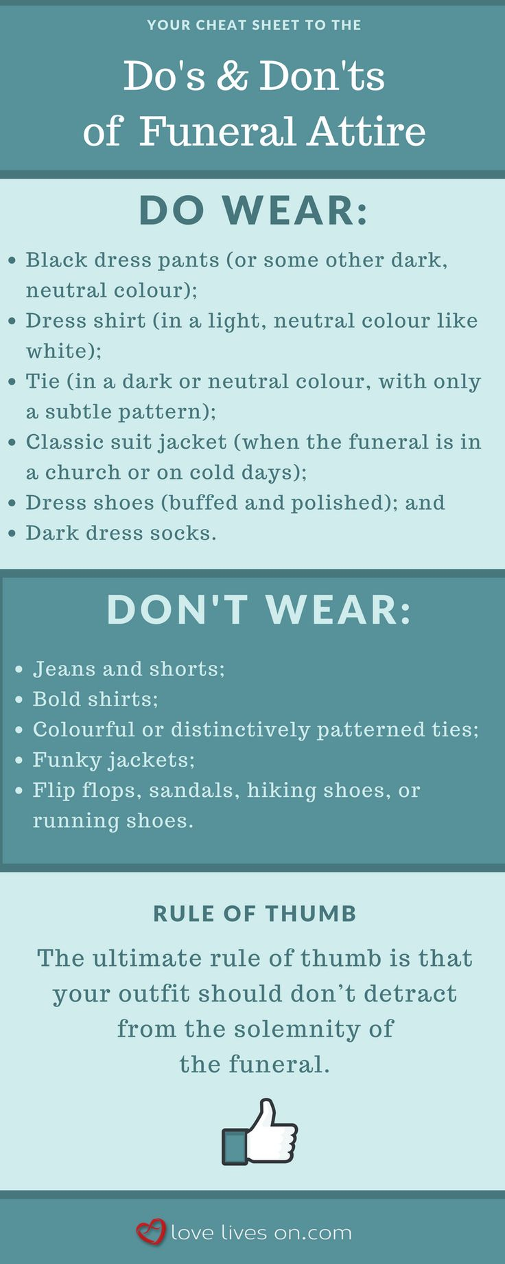 Infographic: The Ultimate Cheat Sheet to Men's Funeral Attire.