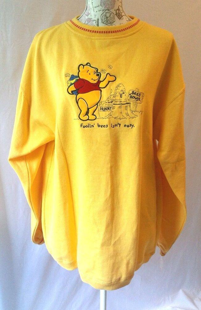 NWT Disney Winnie The Pooh 100 Acre Wood Sweatshirt Crew Embroidered Yellow Sz L #Disney #SweatshirtCrew