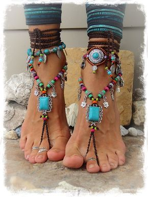 Turchese Boho a piedi nudi sandali FESTIVAL Sandali nativo amazzone Toe Thongs istruzione piedi indossare suola scarpe meno gioielli all'uncinetto piede GPyoga