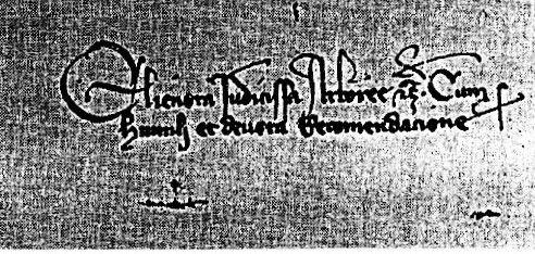 La firma di Eleonora (in una lettera inviata a Pietro IV d'Aragona).