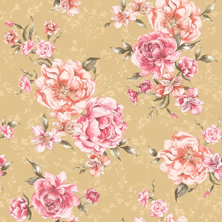 Josephine Floral Wallpaper Mustard Coral 98863