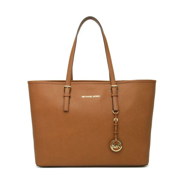 Michael Kors Jet Set Multifunction Tote Handbag in Luggage - Tan ($200) ❤ liked on Polyvore featuring bags, handbags, tote bags, michael kors tote bag, man bag, saffiano leather tote, brown tote and michael kors handbags