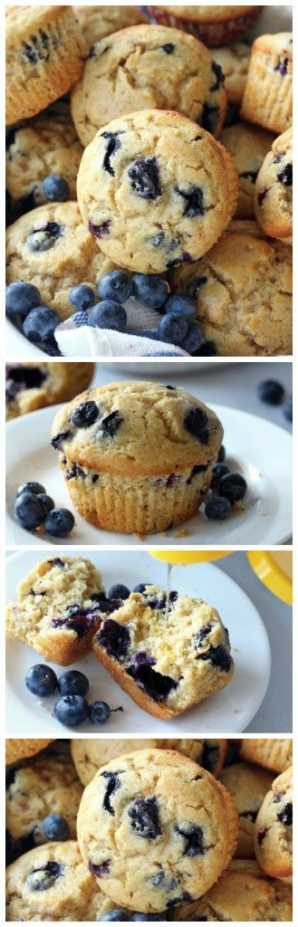 Healthy Greek Yogurt and Honey Blueberry Muffins - these are perfect for breakfast or a quick snack!
