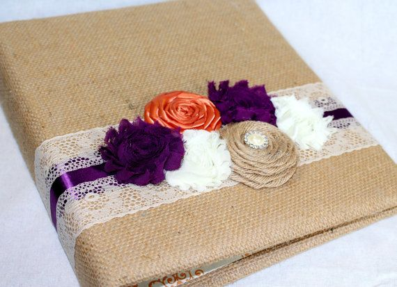 WEDDING GUEST BOOK with Photo Spot - Burlap, Plum and Orange, Fall Guest Book, Ivory Lace, Custom colors available