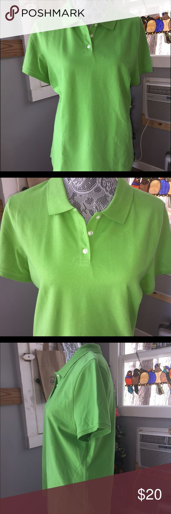 Talbots green polo shirt Talbots 3-button collared polo shirt. Like new. 95%cotton. Machine wash and dry. Talbots Tops