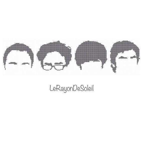 Cross stitch pattern The big bang theory Sheldon Leonard Howard Rajesh silhouettes on Etsy, 3,00€