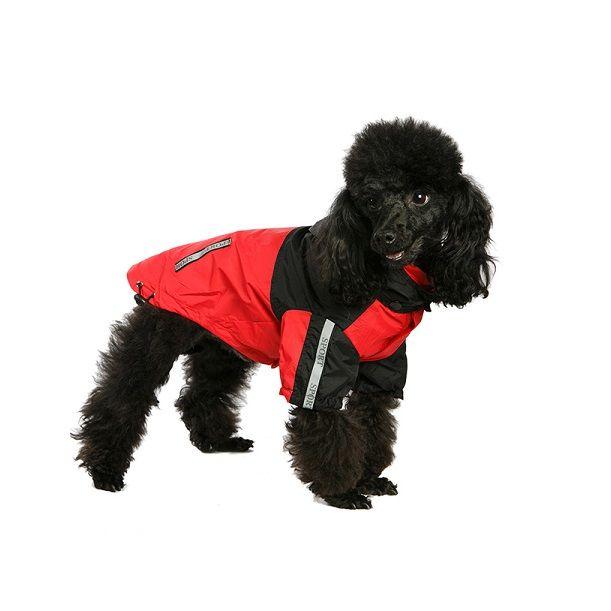 Windbreaker Dog Jacket in Red / Black | £17.95  #dogcoat #dograincoat #reddogcoat
