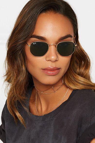 783599db1a Rayban - Hexagon-frame gold-tone sunglasses