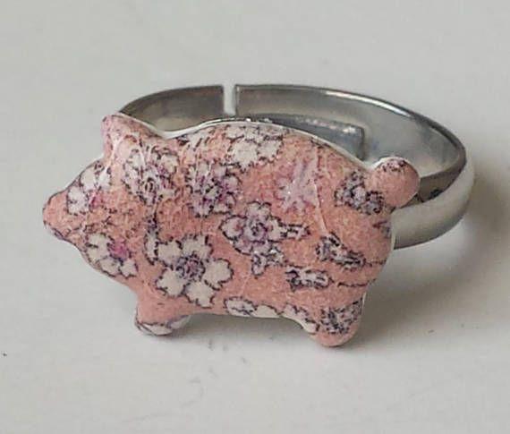 Bague pour enfant petit cochon liberty de fabrication