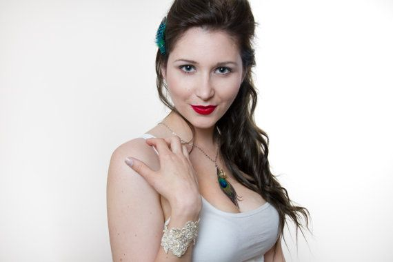 Peacock Feather and Ivory Bead Necklace by DangerouslyDifferent, $16.00